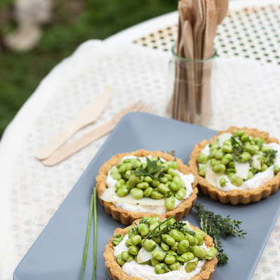 Fava bean and pecorino tartlets