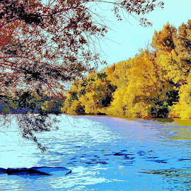 On The River Bank by Steven Kirwan - Digital Art Places ( wall art, riverside, abstract art, waterscape, fine art, rivers, river, waterway )