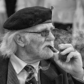 Reflecting on Life by Dez Green - People Portraits of Men ( pensioner, black and white, smoking, veterans, senior citizen )