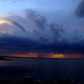 Rain and little lightening over Lake Texoma by Joseph Guyton - Landscapes Cloud Formations ( rainover texoma )