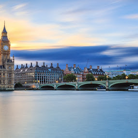 Time Passes By by CK Lam - City,  Street & Park  Skylines ( thames river, uk, london, clock tower, sunset, elizabeth tower, westminster, big ben, united kingdom )