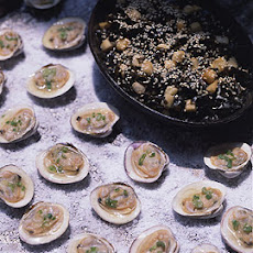Grilled Clams on the Half Shell with Ginger Mignonnette