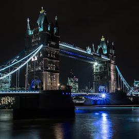 Tower Bridge London by Tony Volley - City,  Street & Park  Night ( london, reflections, long exposure, bridge, river thames, nightscape )