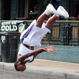 Upside Down on Beale Street by Rhonda Mullen - People Street & Candids
