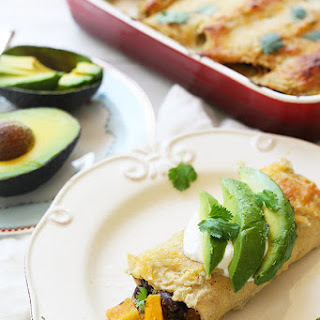 Roasted Butternut Squash and Black Bean Vegetarian Enchiladas
