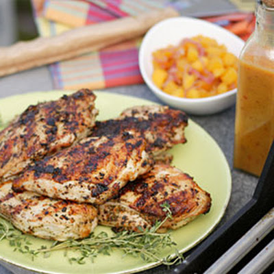 Grilled Jerk Chicken with Scotch Bonnet Sauce and Mango Chutney