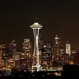 Seattle at night. by Dan Dusek - City,  Street & Park  Skylines ( night photography, city view, city lights, cityscape, city skyline )