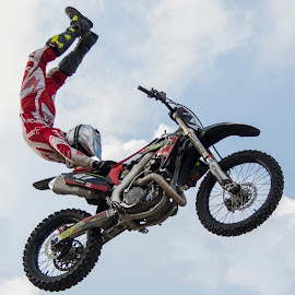 by Samantha Blankenship - Sports & Fitness Motorsports ( motocross tricks, trick show, motocross, grabbing the seat, awesome )