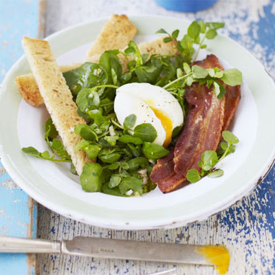 Soft-boiled Egg, Bacon & Watercress Salad