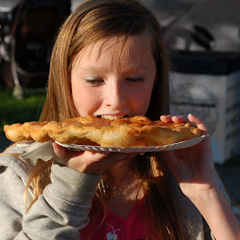 At The Fair by Philip Molyneux - Babies & Children Children Candids ( child, girl, food, eat, elephant ear, pastry, fair )