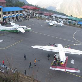 At lukla Airport by Shishir Desai - Transportation Airplanes ( airport, lukla, nepal,  )