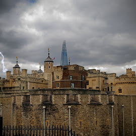 Juxtaposition of Time by Kristina Austin Scarcelli - City,  Street & Park  Historic Districts ( tower of london, england, shard, london, great britain, united kingdom )