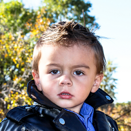tk 3 by Stacey Cannon - Babies & Children Child Portraits ( harley, motorcycle, fall portrat, cute, handsome, toddler, leather, boy, portrait )