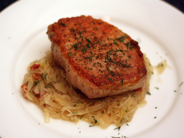 Dinner Tonight: Sauteed Pork Chops with Sauerkraut
