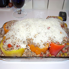 Turkey Stuffed Yellow & Red Bell Peppers