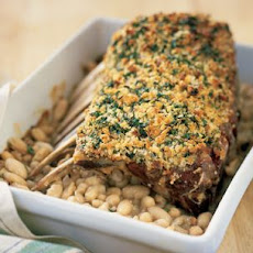 Bread Crumb-Crusted Rack of Lamb with White Beans