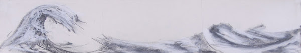 Long Wave Triptych <br> Pastel, pencil on paper <br> 5.5 x 30 in