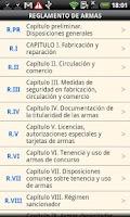 Screenshot of Spanish Firearms Regulation