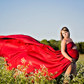 Lady in Waiting by Alicia Robichaud - People Maternity ( field, maternity, red, nature, woman, beauty,  )