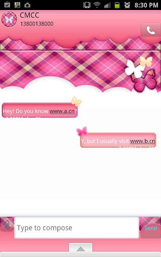 GO SMS - Peachy Plaid Sky