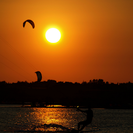 kiting sunset by Željko Šalić - Sports & Fitness Surfing ( sunset, kiting )