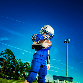 Football player by Ina Pandora - Babies & Children Child Portraits ( child, football player, blue, stadium, portrait, kid )