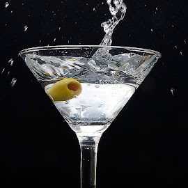 making an entrance by Helen Bagley - Food & Drink Alcohol & Drinks ( splash, action, drinks, olives, marti )