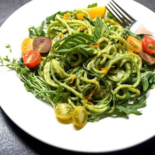 Raw Zucchini Pasta with Creamy Avocado-Cucumber Sauce