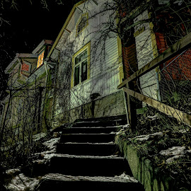 Pschyo by Bojan Bilas - Buildings & Architecture Homes ( home, creepy, naantali, hdr, spooky, finland, long exposure, night, architecture, neighbourhood, city )