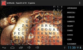 Screenshot of ArtWords word search