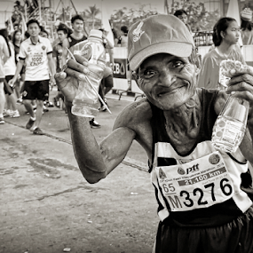 Celebrating The Joy. by Ian Gledhill - People Street & Candids ( black and white, street, asia, thailand, sport, men, marathon, man, portrait, , Travel, People, Lifestyle, Culture )