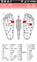 Screenshot of Reflexology chart