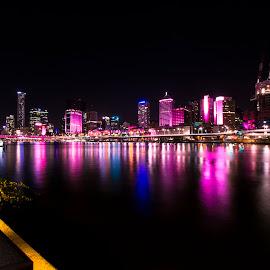 Brisbane lights by Adam McDonald - City,  Street & Park  Skylines ( lights, purple, lighting, color, art, artistic, fun, creativity, mood factory )