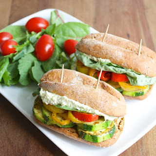 Italian Veggie Sliders with Whipped Pesto+Feta Spread
