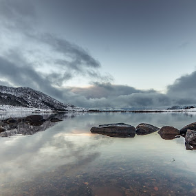 Clouds and rocks by Benny Høynes - Landscapes Waterscapes ( clouds, bay, rocks, norway )