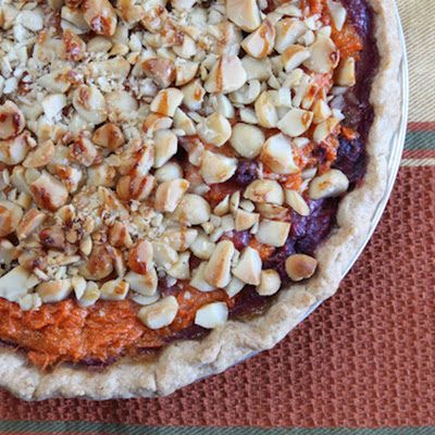 Hawaiian style sweet potato pie, featuring American Orange Yams and Okinawa Purple Sweet potato with Macadamia Nut