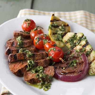 Steak and Vegetables with Chimichurri Sauce