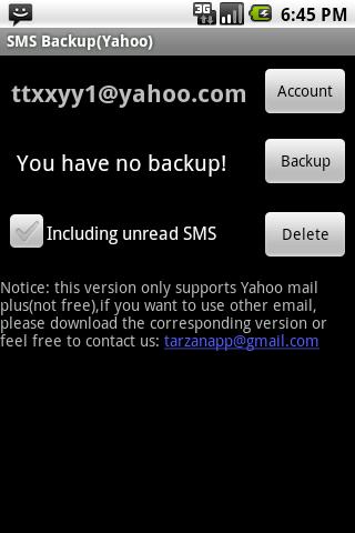 SMS Backup Yahoo