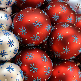 Ornaments by Brianne Cronenwett - Novices Only Objects & Still Life ( red, white, snowflakes, christmas, chriskringlemart, ornaments, , decoration, object )