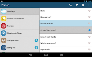 Screenshot of Learn French Phrasebook Pro