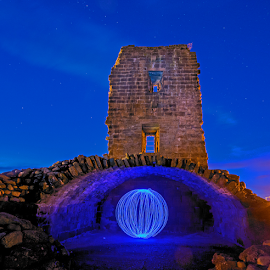 Castle Orb  by Mark Helm - Abstract Light Painting ( light painting, orb, blue, stars, sigma 10-20, nikon d7100, castle )