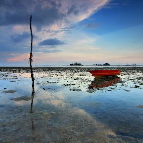 Red Boat by Roem Hasadi - Landscapes Beaches ( reflection, red, blue, sunset, beach, sunrise, boat )