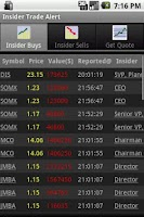 Screenshot of Insider Trade Alert