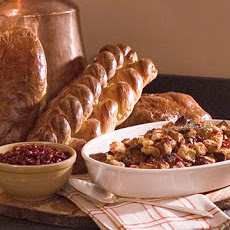 Cornbread and Pumpkin Challah Stuffing with Dried Fruit