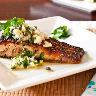 Coriander Crusted Salmon with Fennel Salsa Verde