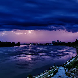Stormy night over the Danube by Vanja Vidaković - Landscapes Weather ( vukovar, croatia, storm, danube )