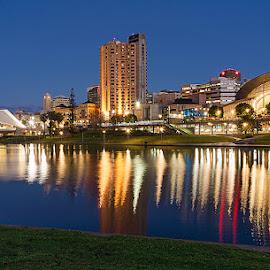 Adelaide -  Torrens River by Zdenka Rosecka - City,  Street & Park  Night