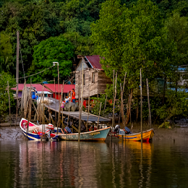 Daily means of commute. by Victor Sim - Transportation Boats ( village, jungle, tropical, boats, trees, transportation, rivers )