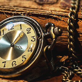 Keeping Time by Sandra Hilton Wagner - Artistic Objects Other Objects ( time, pocket watch, numbers, chain, book, antique, object )