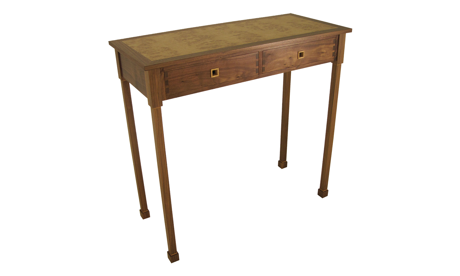 Console Table in American Black Walnut with Oak Detailing